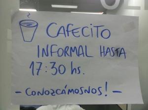 Cafecito informal de 5 a 5:30pm